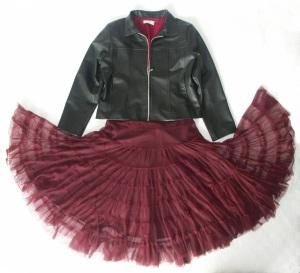 red dress & black jacket